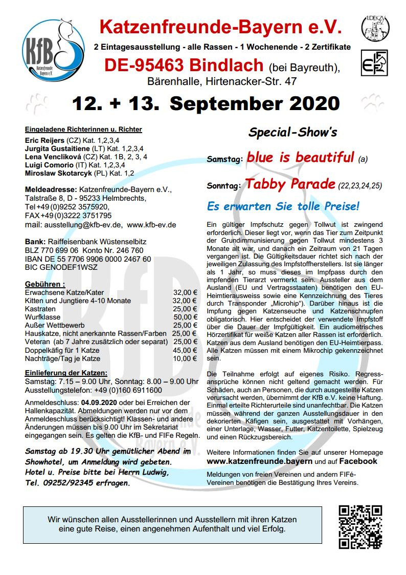 Katzenausstellung 2021 Bayern